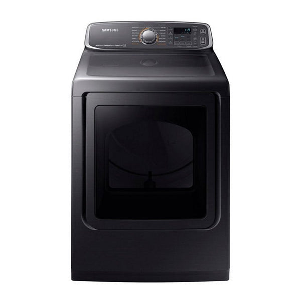Samsung - 7.4 Cu. Ft. Extra Large Capacity Electric Dryer with Steam - Black Stainless Steel