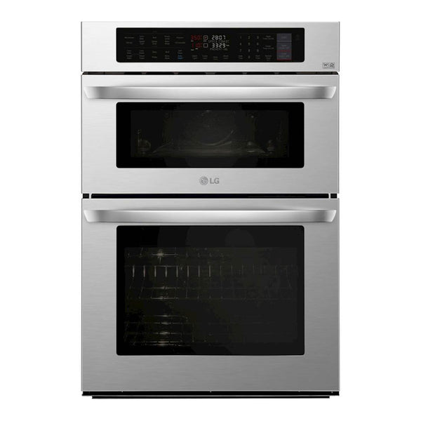 "LG - 30"" Combination Double Electric Convection Wall Oven with Built In Microwave - Stainless steel - Appliances Club"