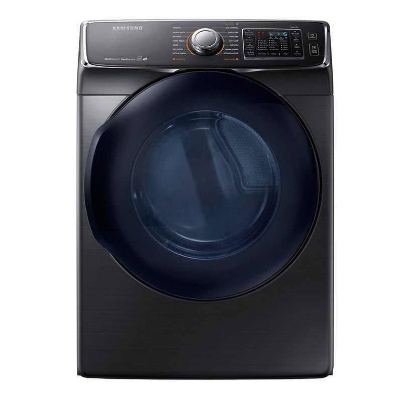 Samsung-7.5-cu ft Stackable Electric Dryer, Energy Star-Fingerprint Resistant Black Stainless Steel