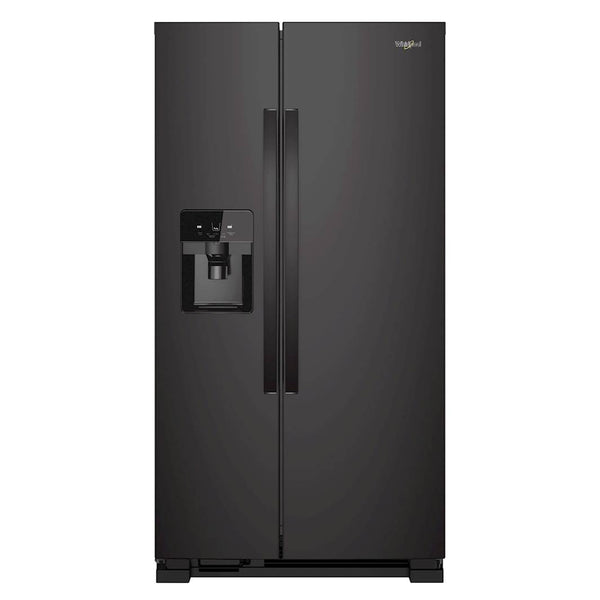 Whirlpool - 24.6 Cu. Ft. Side by Side Refrigerator with Water and Ice Dispenser - Black - Appliances Club