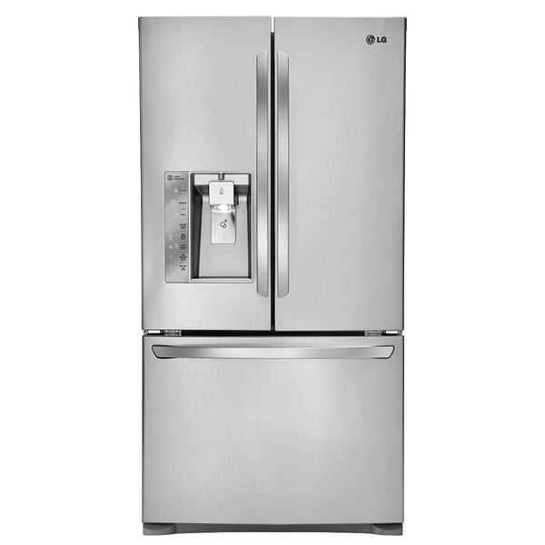 LG - 24.0 Cu. Ft. Counter Depth French Door Refrigerator with Thru the Door Ice and Water - Stainless steel - Appliances Club