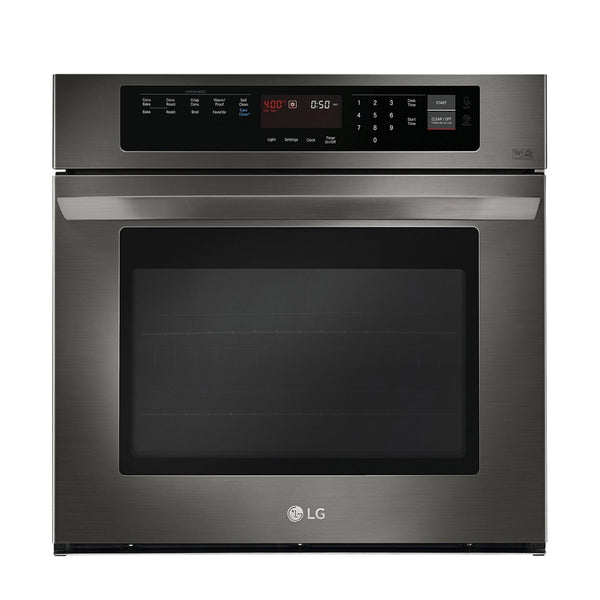 "LG - 30"" Built In Single Electric Convection Wall Oven - Black stainless steel - Appliances Club"