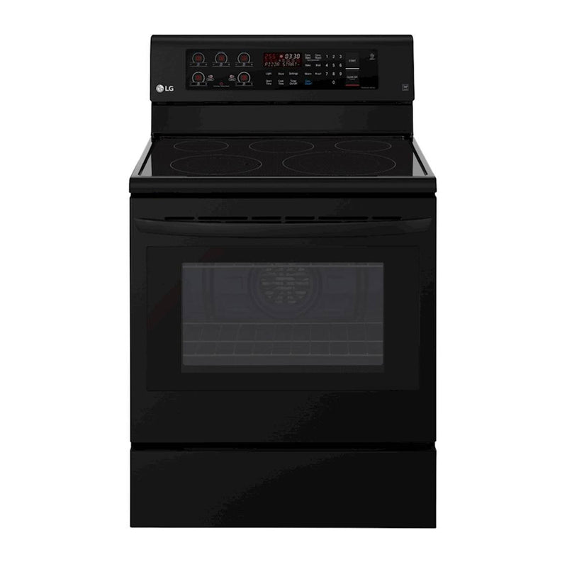 LG - 6.3 Cu. Ft. Self Cleaning Freestanding Electric Convection Range - Smooth Black - Appliances Club