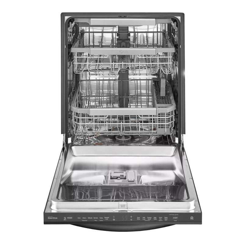 "LG - 24"" Top Control Smart Wi-Fi Enabled Dishwasher with QuadWash and Steel Tub with Light - Appliances Club"
