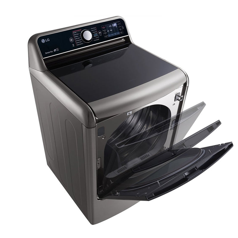 LG - 9.0 Cu. Ft. 14 Cycle Steam Electric Dryer - Graphite Steel