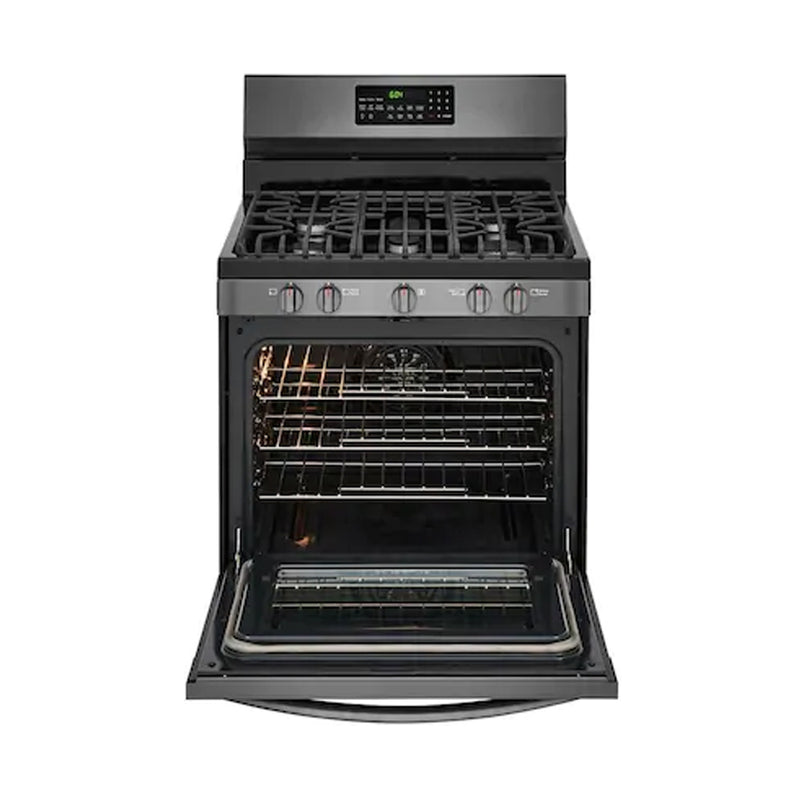 Frigidaire - Gallery 5.0 Cu. Ft. Freestanding Gas Convection Range - Black stainless steel - Appliances Club