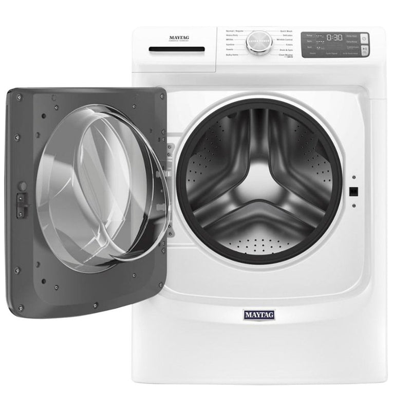 Maytag - 4.8 Cu. Ft. 12 Cycle High Efficiency Front Loading Washer with Steam - White