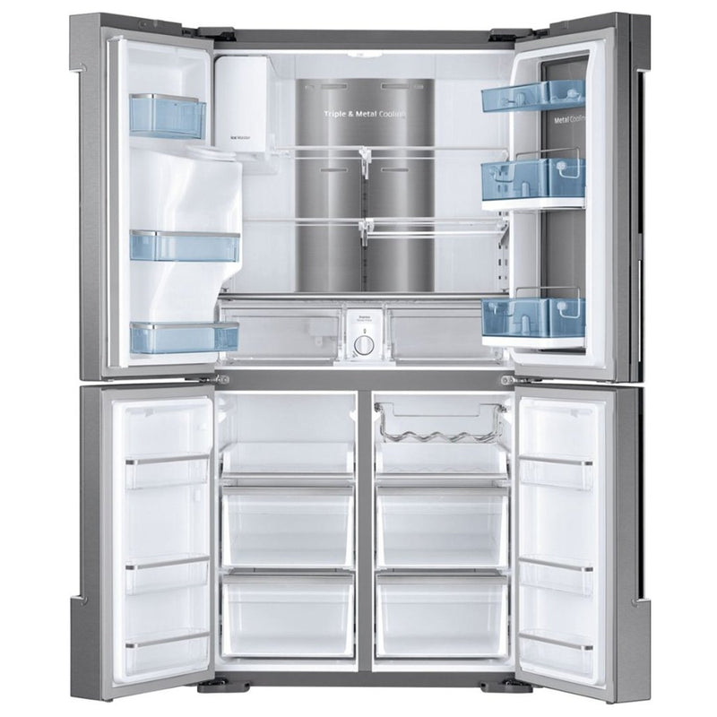 Samsung - 27.8 Cu. Ft. 4 Door Flex French Door Refrigerator with Food ShowCase and Thru the Door Ice and Water - Fingerprint Resistant Stainless Steel - Appliances Club