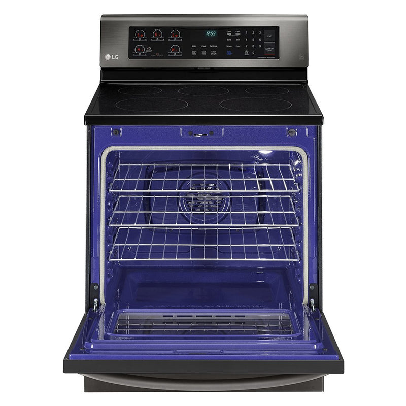 LG - 6.3 Cu. Ft. Freestanding Electric Convection Range - PrintProof Black Stainless Steel - Appliances Club