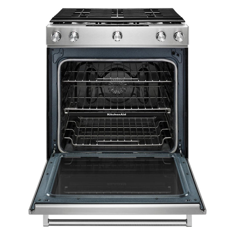 KitchenAid - 5.8 Cu. Ft. Self Cleaning Slide In Gas Convection Range - Stainless steel