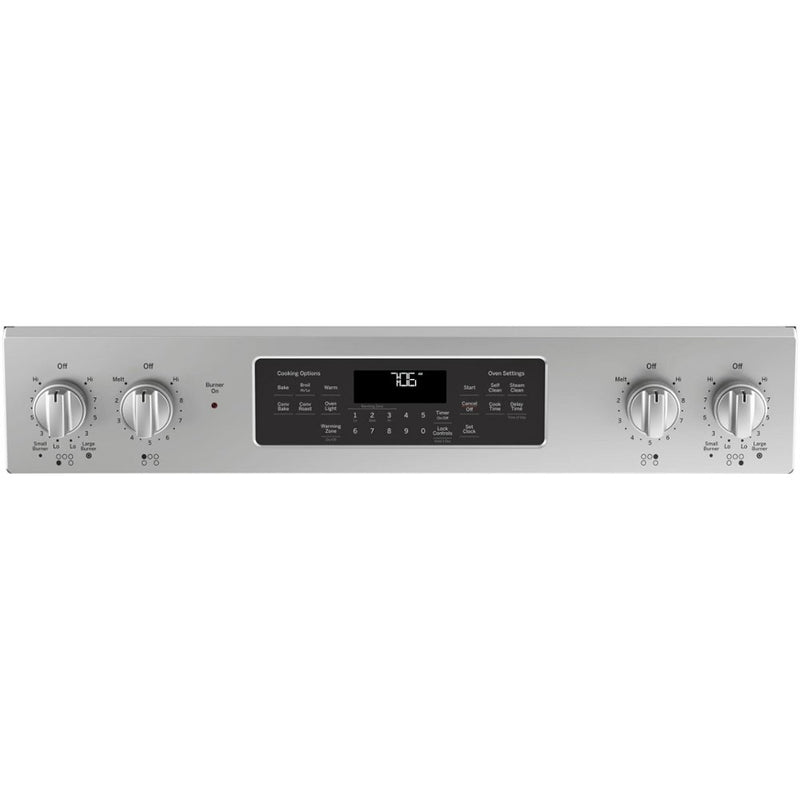 GE - 5.3 Cu. Ft. Slide In Electric Convection Range - Stainless steel