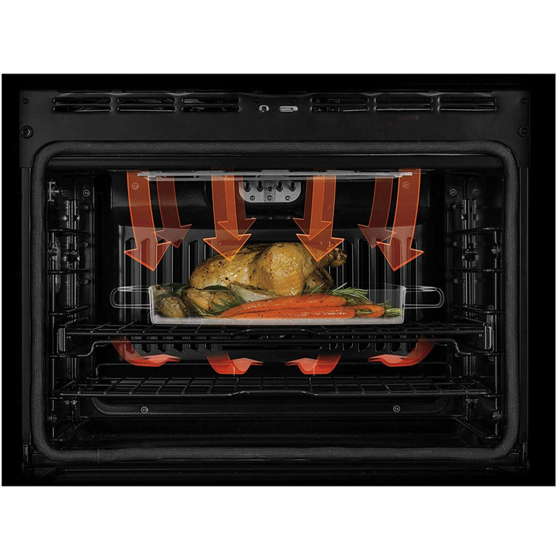 "GE - Profile 30"" Built In Single Electric Convection Wall Oven - Black stainless steel - Appliances Club"