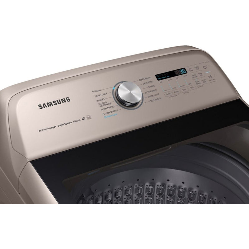 Samsung - 5.4 Cu. Ft. 12 Cycle Top Loading Washer with Steam - Champagne