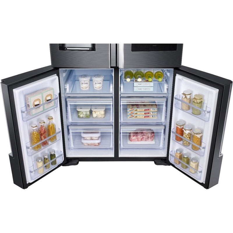 Samsung-Family Hub 22 Cu Ft 4 Door Flex French Door Counter,Depth Refrigerator-Black Stainless Steel