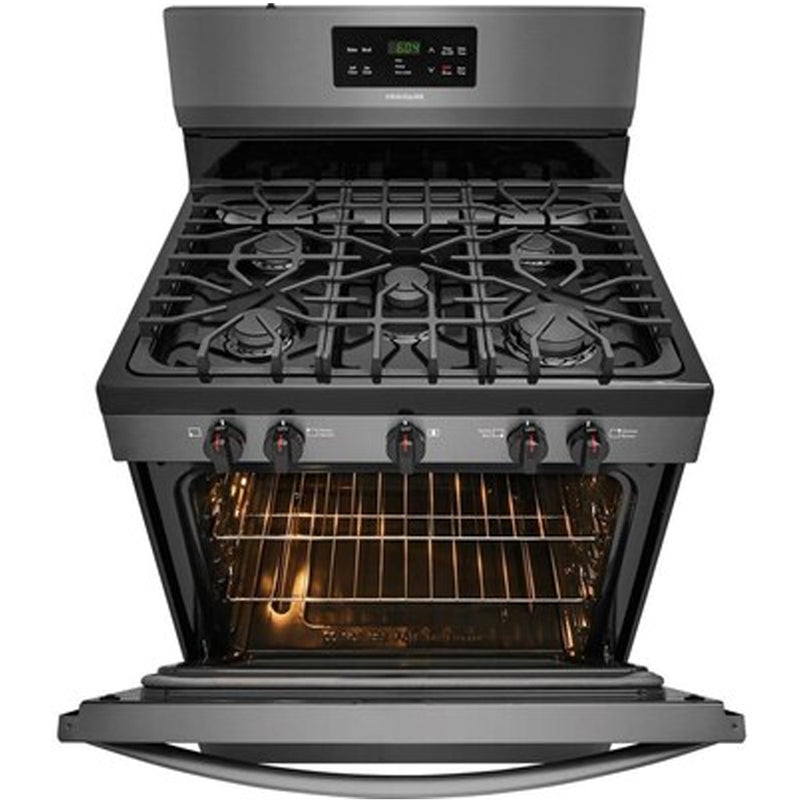 Frigidaire - Gallery 5 Burners 5 cu ft Self Cleaning Freestanding Gas Range - Black Stainless Steel - Appliances Club
