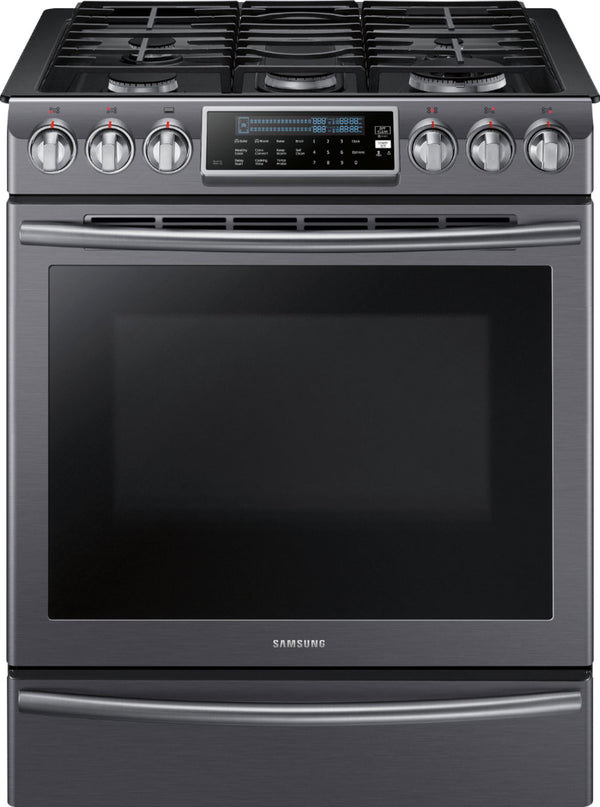Samsung - 5.8 Cu. Ft. Self-Cleaning Fingerprint Resistant Slide-In Gas Convection Range - Black stainless steel
