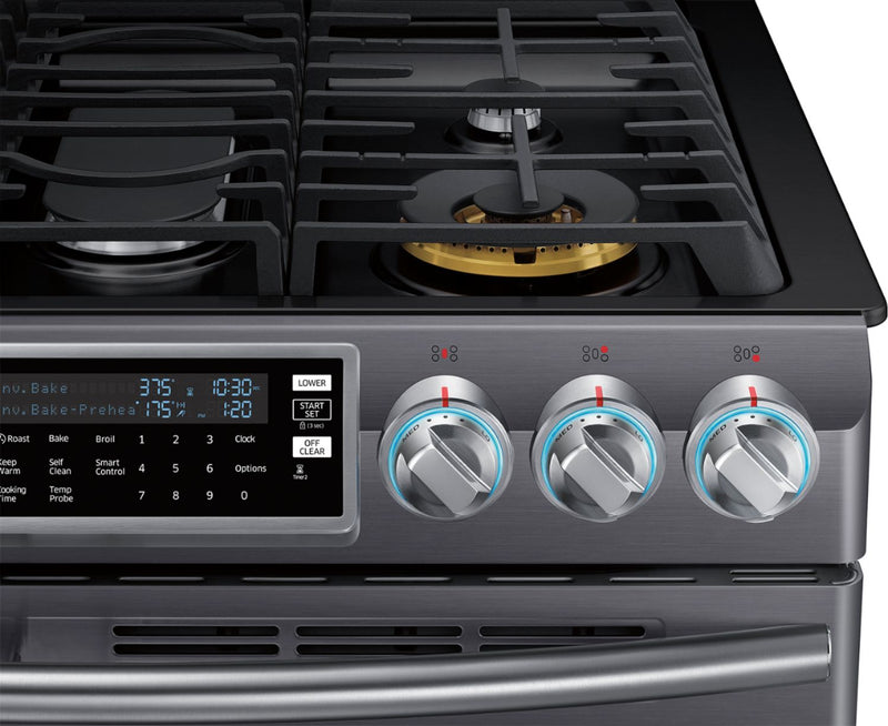 Samsung - Flex Duo™ 5.8 Cu. Ft. Self-Cleaning Fingerprint Resistant Slide-In Gas Convection Range - Black stainless steel