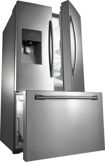 Samsung - 24.6 Cu. Ft. French Door Refrigerator with Thru-the-Door Ice and Water - Stainless steel