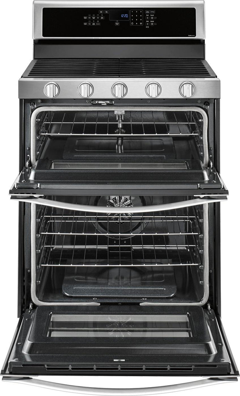 Whirlpool - 6.0 Cu. Ft. Self-Cleaning Freestanding Double Oven Gas Convection Range - Stainless steel