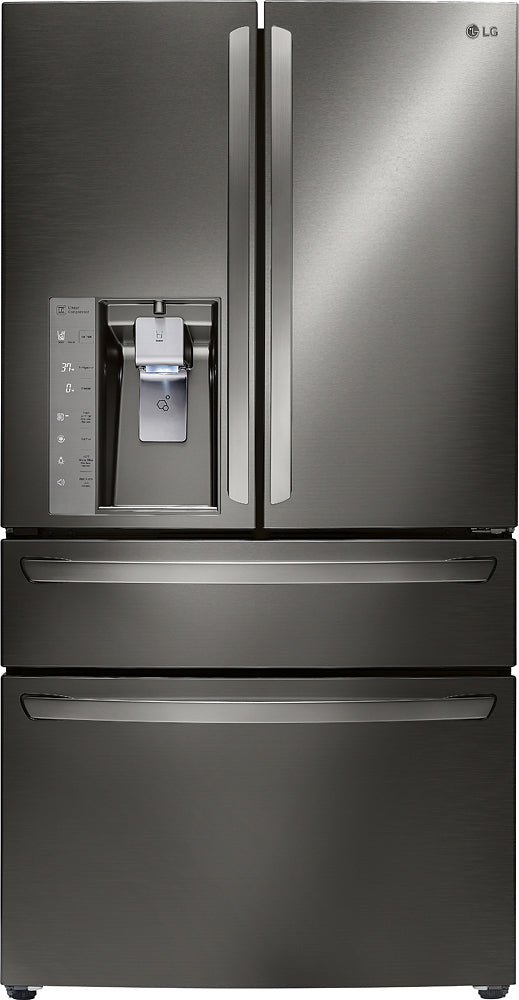 LG - 22.7 Cu. Ft. Counter-Depth 4-Door French Door Refrigerator with Thru-the-Door Ice and Water - Black stainless steel