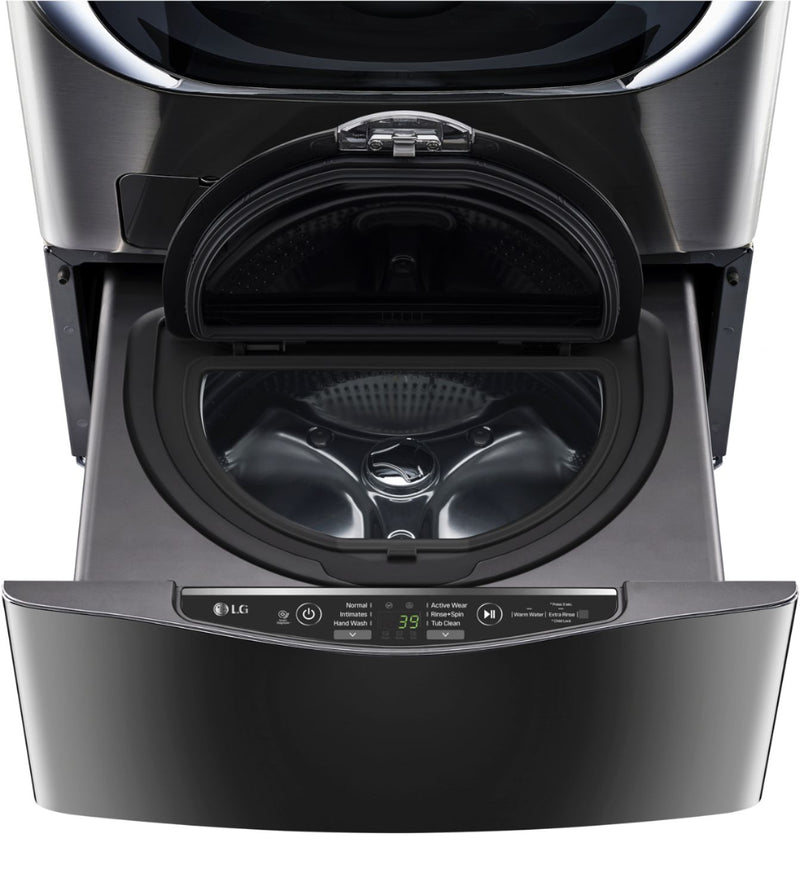 "LG - 27"" SideKick 1.0 Cu. Ft. 6-Cycle High-Efficiency Pedestal Washer - Black stainless steel"