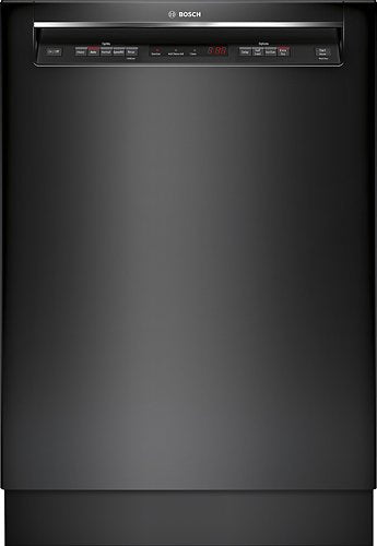 "Bosch - 300 Series 24"" Recessed Handle Dishwasher with Stainless Steel Tub - Black"