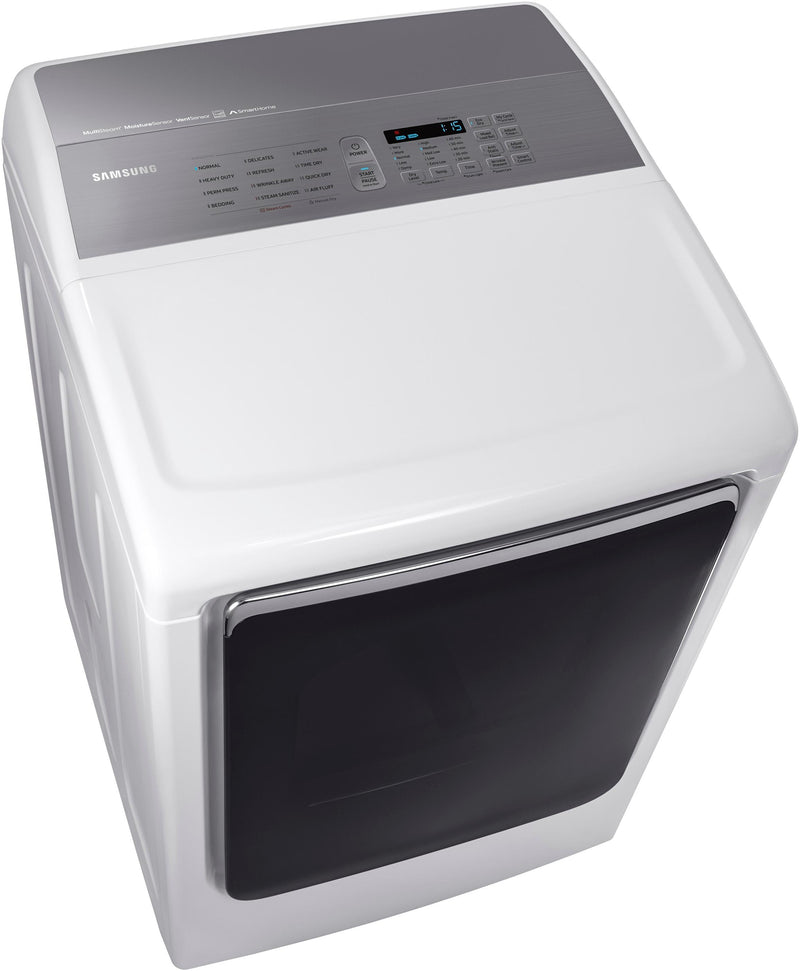 Samsung - 7.4 Cu. Ft. 12-Cycle High-Efficiency Gas Dryer with Steam - White
