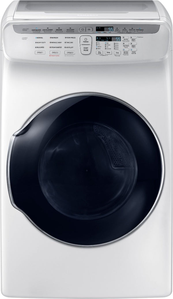 Samsung - 7.5 Cu. Ft. Smart Electric Dryer with Steam and FlexDry™ - White