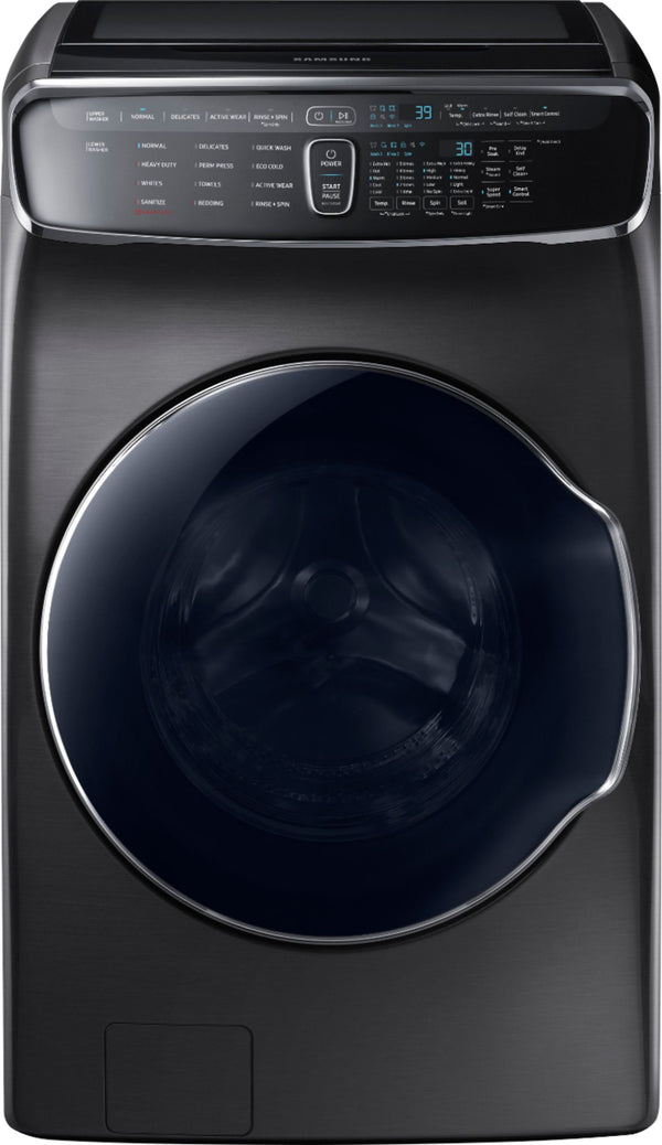 Samsung - 6.0 Cu. Ft. High Efficiency Smart Front Load Washer with Steam and FlexWash™ - Black stainless steel