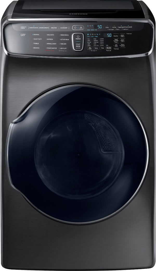 Samsung - 7.5 cu. ft. Capacity FlexDry Fingerprint Resistant Electric Dryer with Steam - Black stainless steel