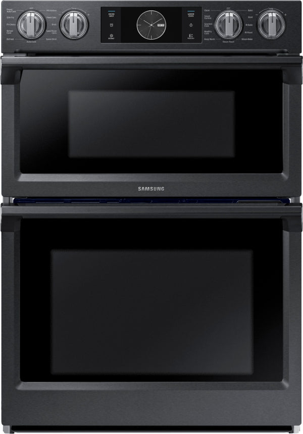 "Samsung - 30"" Microwave Combination Wall Oven with Flex Duo, Steam Cook and WiFi - Fingerprint Resistant Black Stainless Steel"