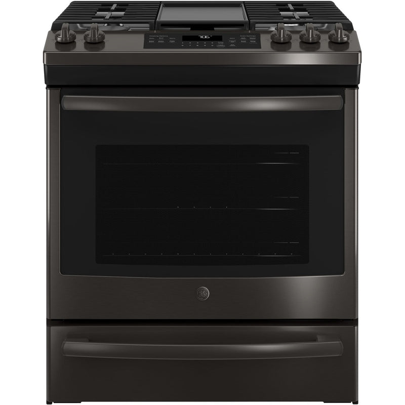 GE - 5.6 Cu. Ft. Slide-In Gas Convection Range - Black stainless steel
