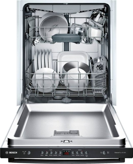 "Bosch - 100 Series 24"" Top Control Built-In Dishwasher with Stainless Steel Tub - Black"
