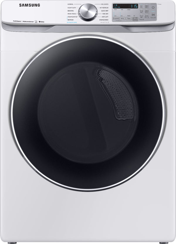 Samsung - 7.5 Cu. Ft. 12-Cycle Smart Wi-Fi Electric Dryer with Steam - White