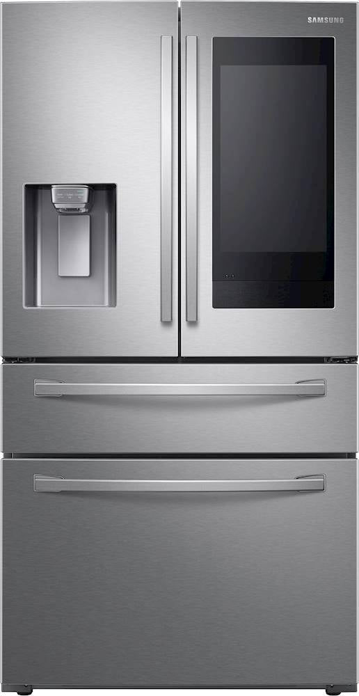 Samsung - Family Hub 22.2 Cu. Ft. 4-Door French Door Counter-Depth Fingerprint Resistant Refrigerator - Stainless steel