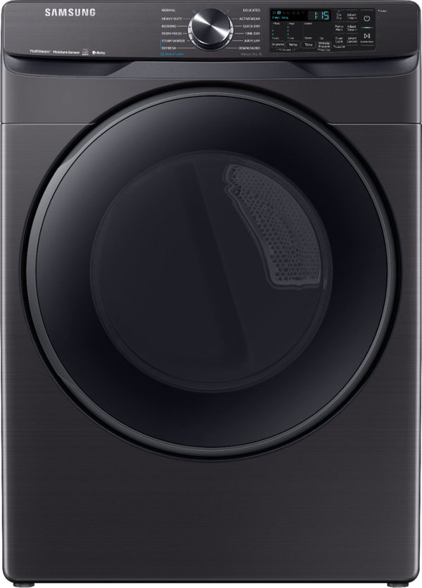 Samsung - 7.5 Cu. Ft. 12-Cycle Smart Wi-Fi Electric Dryer with Steam - Black stainless steel