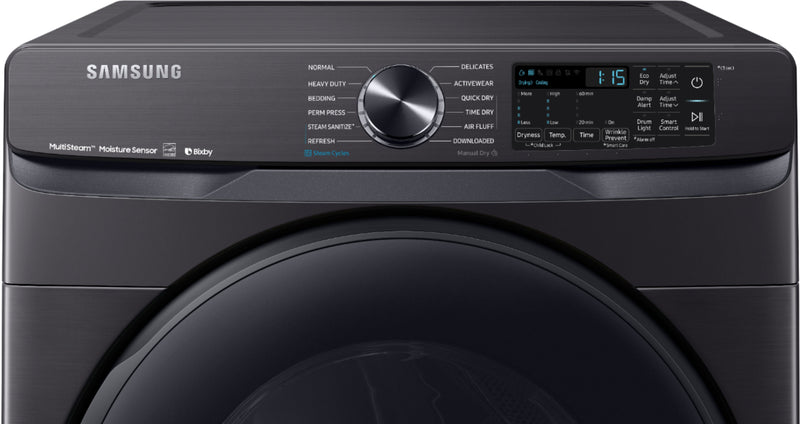 Samsung - 7.5 Cu. Ft. 12-Cycle Smart Wi-Fi Gas Dryer with Steam - Black stainless steel