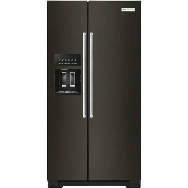 KitchenAid - 22.6 Cu. Ft. Side-by-Side Counter-Depth Refrigerator - Black Stainless Steel With PrintShield Finish
