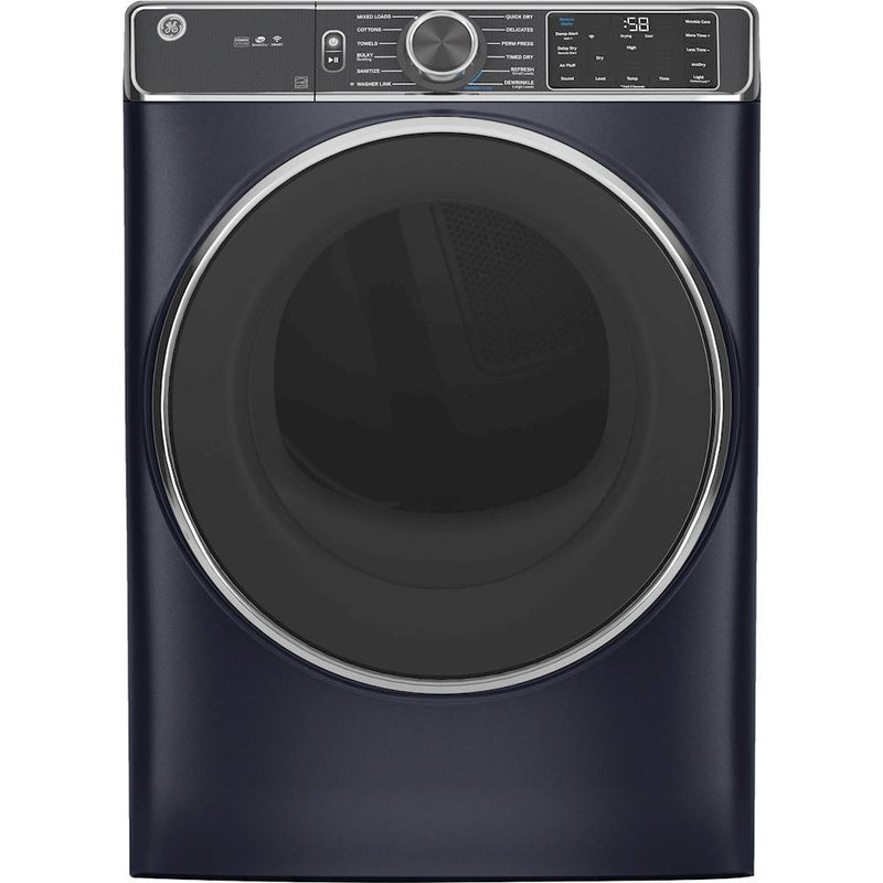GE - 7.8 Cu. Ft. 12-Cycle Electric Dryer with Steam - Sapphire Blue