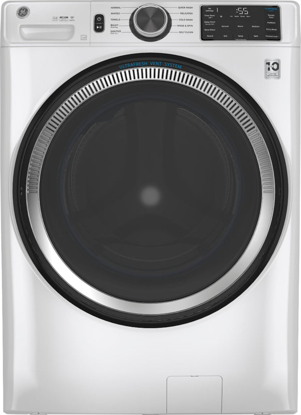 GE - 4.8 Cu. Ft. 10-Cycle High-Efficiency Front-Loading Washer with UltraFresh Vent System with OdorBlock - White on White