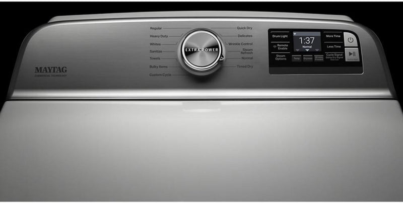 Maytag - 7.4 Cu. Ft. 13-Cycle Electric Dryer with Steam and Extra Power Button - White