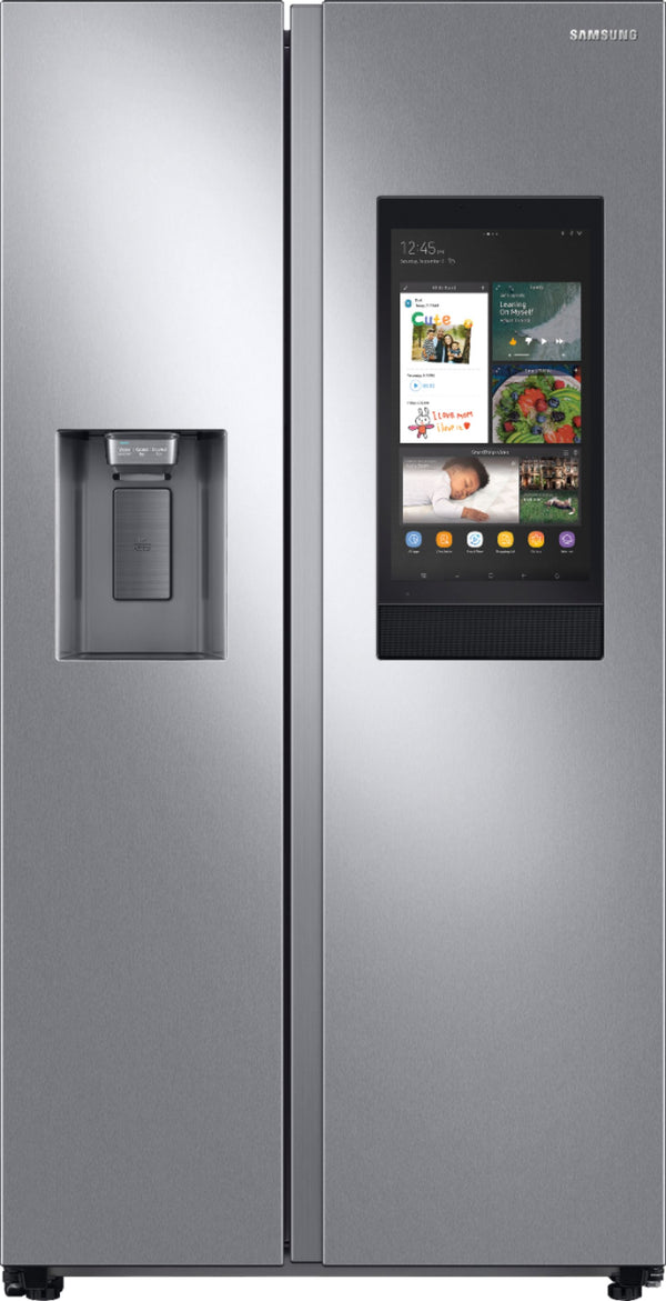 "Samsung - 26.7 Cu. Ft. Side-by-Side Refrigerator with 21.5"" Touch-Screen Family Hub - Stainless steel"