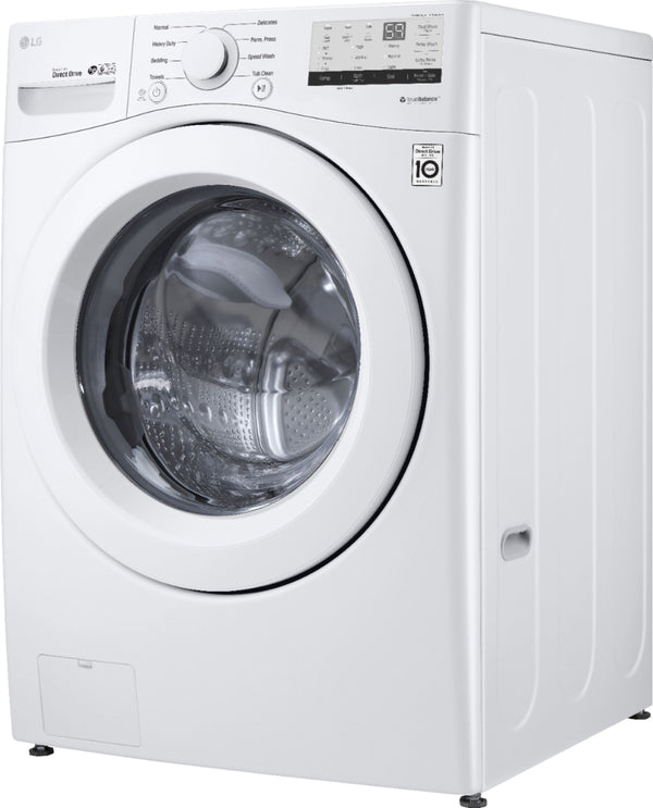 LG - 4.5 Cu. Ft. 8-Cycle High-Efficiency Front-Loading Washer with 6Motion Technology - White