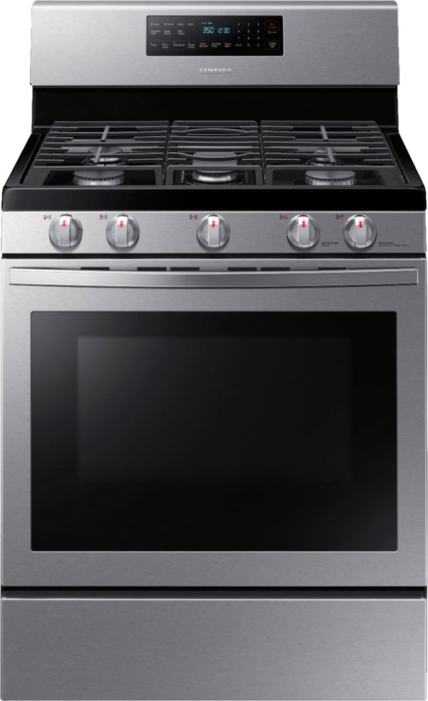 Samsung - 5.8 Cu. Ft. Freestanding Gas Convection Range with Self-High Heat Cleaning - Stainless steel
