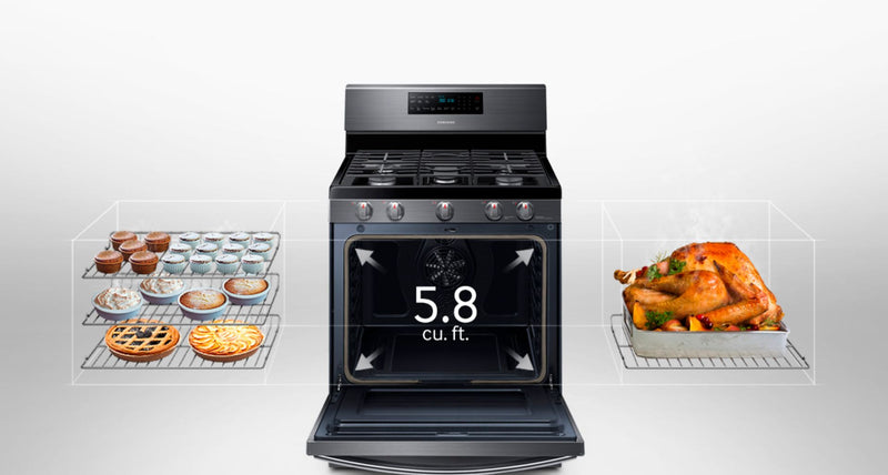 Samsung - 5.8 Cu. Ft. Freestanding Gas Convection Range with Self-High Heat Cleaning - Black stainless steel