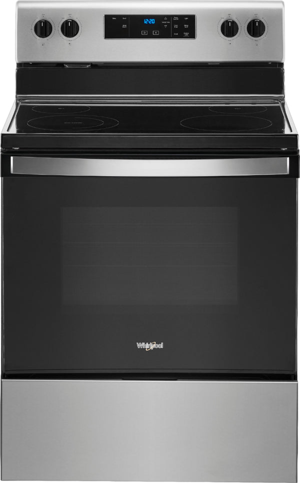 Whirlpool - Smooth Surface 4 Elements 5.3-cu ft Freestanding Electric Range - Stainless Steel