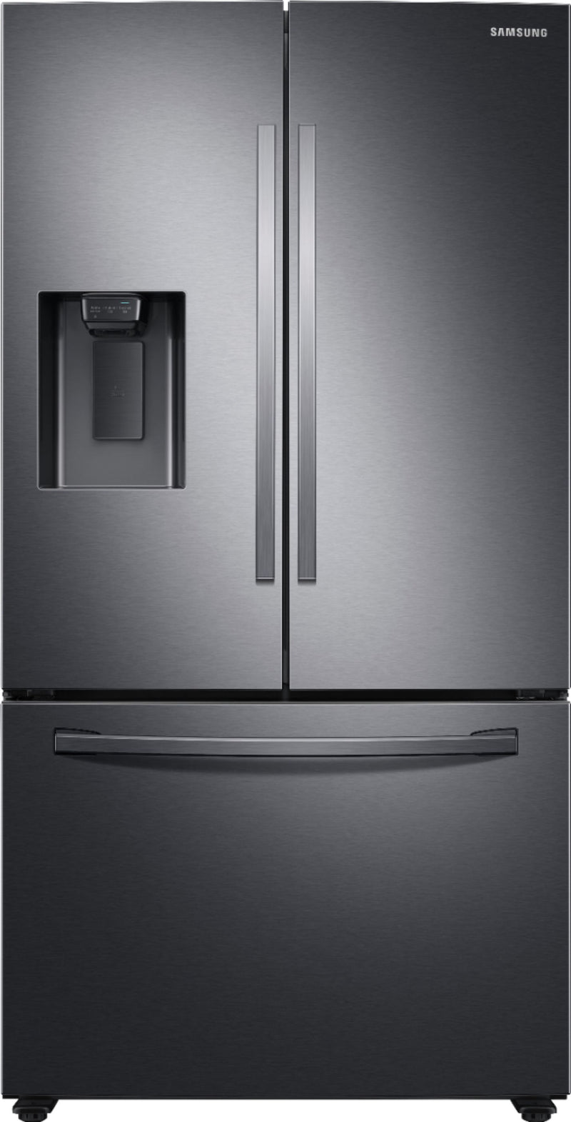Samsung - 27 cu. ft. Large Capacity 3-Door French Door Refrigerator with External Water & Ice Dispenser - Fingerpring Resistant Black Stainless Steel