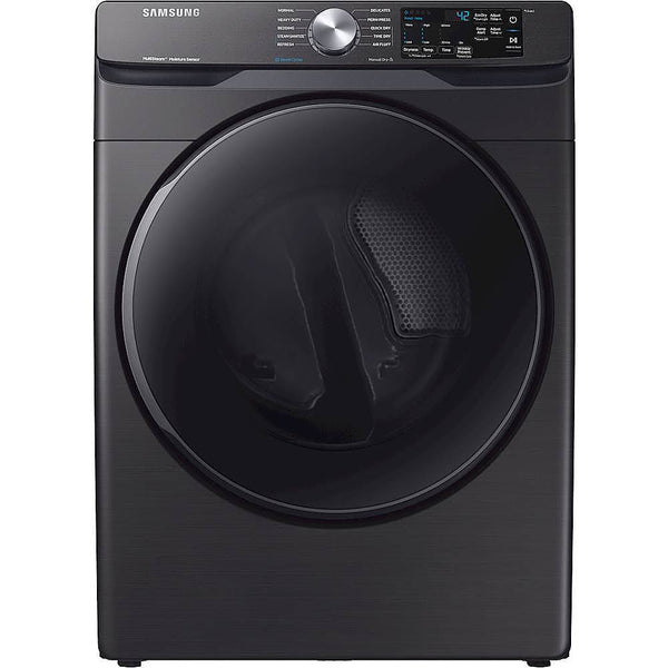 Samsung - 7.5 Cu. Ft. Stackable Electric Dryer with Steam and Sensor Dry - Black stainless steel