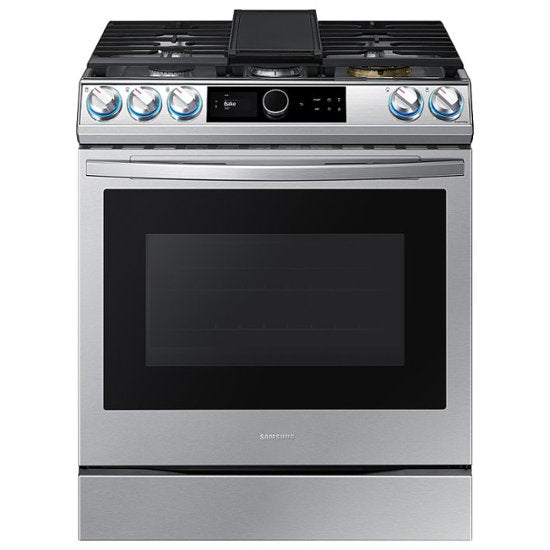 Samsung - 6.0 Cu. Ft. Front Control Slide-in Gas Range with Smart Dial, Air Fry & Wi-Fi - Fingerprint Resistant Stainless Steel