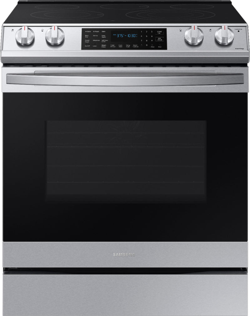 Samsung - 6.3 cu. ft. Front Control Slide-In Electric Convection Range with Air Fry & Wi-Fi - Fingerprint Resistant Stainless Steel